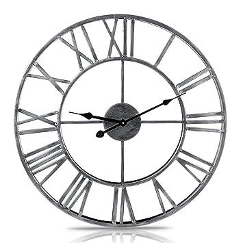 MRKE 50CM 3D Metal Reloj Pared Grande XXXL Silencioso Vintage Números Romanos Retro Design Reloje de Pared para Cocina/Salón/Dormitorio/Baño/Oficina ...