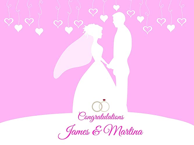 custom pink bride groom outline congratulations wedding party poster sizes 36x24 48x24 48x36