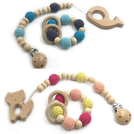 Coskiss 4pcs Bebé dentición juguete de madera de dientes ...