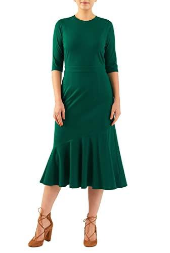 Wiggle Dresses | Pencil Dresses 30s  flounce hem cotton knit dress $56.95 AT vintagedancer.com