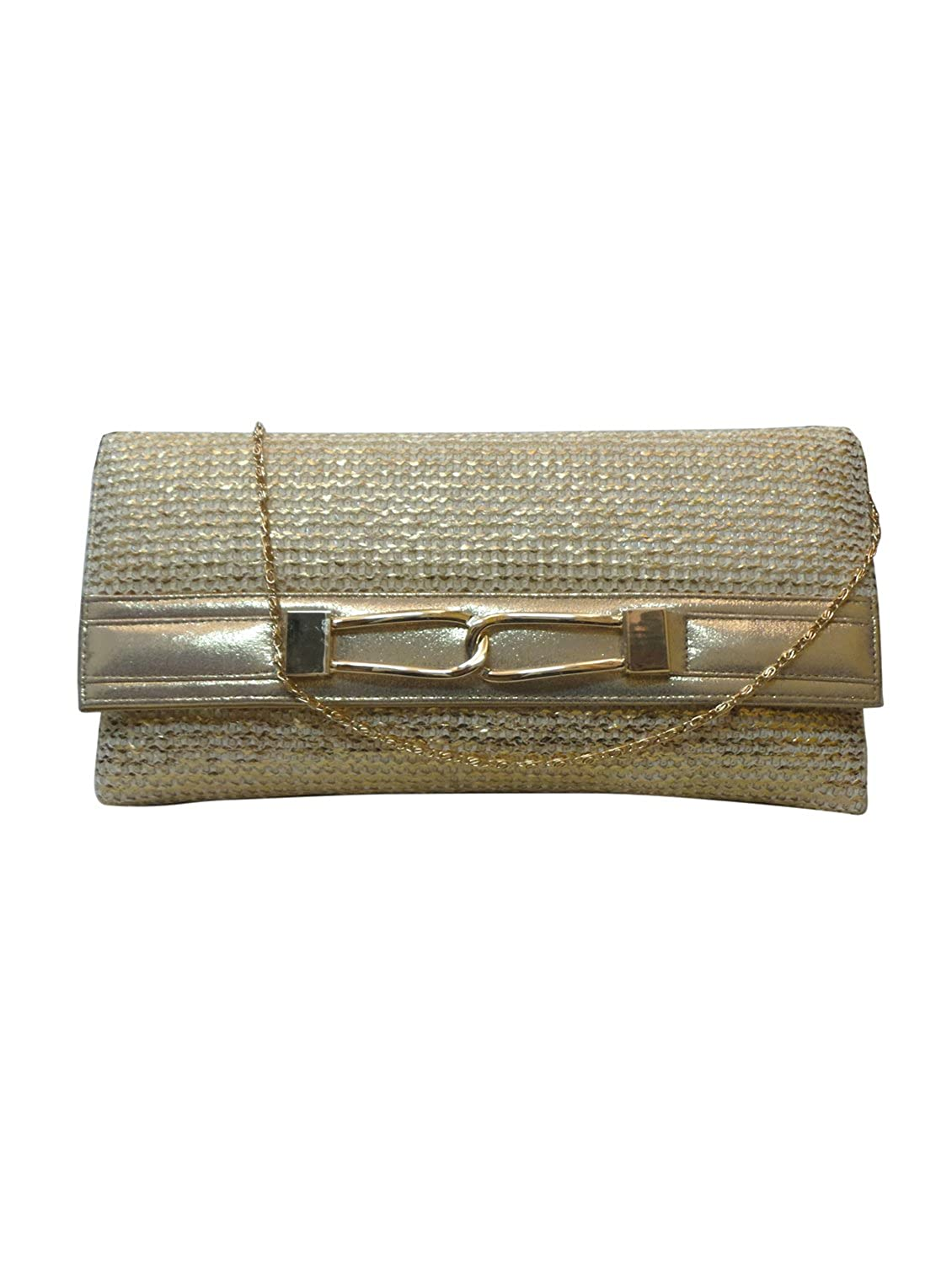 Bhamini Gold Gold Touch Jute Clutch with Metal Loop Brooch