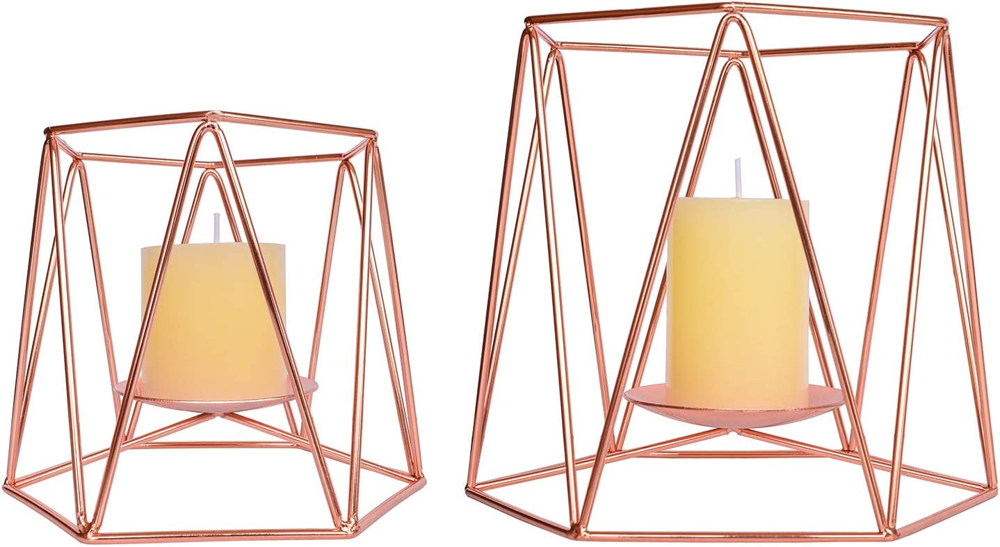 Le Sens Amazing Home Large Rose Gold Metal Pillar Candle Holders Set of 2, 4.7/6.2 inches Height, Geometric Elegant Tealight Holders, Centerpieces for Wedding, Home Decor, Ceremony and Anniversary