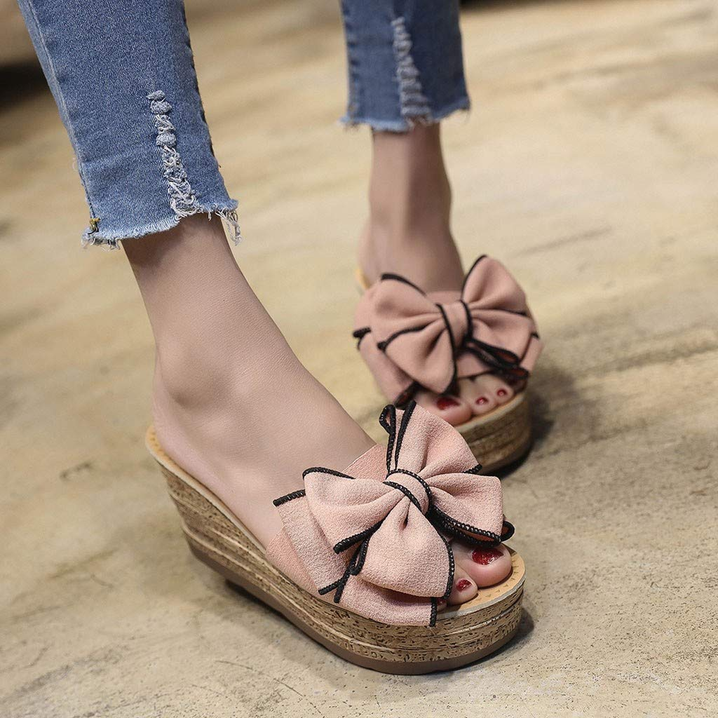 ♡QueenBB♡ Womens Platform Slip On Espadrille Wedge Slide Sandals Bowtie Knot Open Toe Summer Mules Shoes Pink by ♡QueenBB♡ Women's Shoes (Image #3)