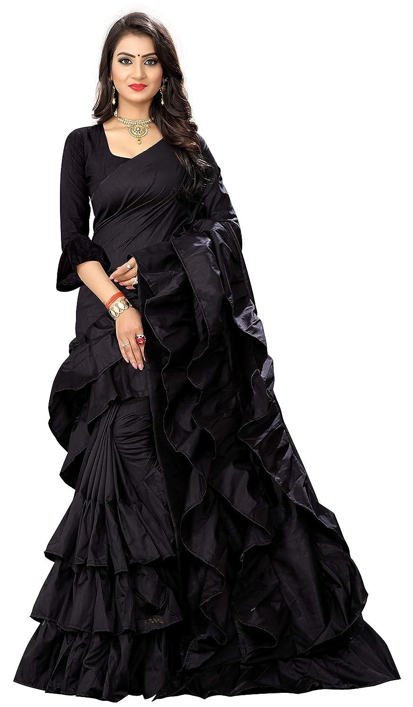 b2cf0dff3c4f6e Niza Fashion Women s New Ruffle Pattern Pure Satin Saree With Blouse  Amazon .in  Clothing   Accessories