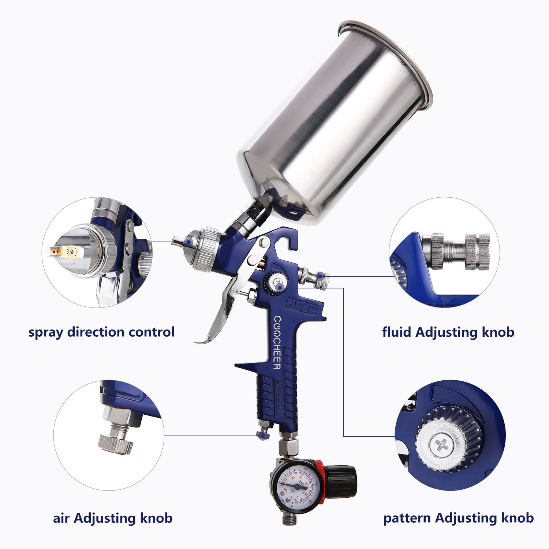 Meditool Air Spray Gun Gravity Feed Hvlp Paint Sprayer With