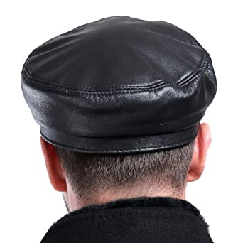 VEMOLLA Mens Real Sheepskin Leather Beret Cap Golf Military Cadet Hat  Newsboy Baseball Black XXL at Amazon Men s Clothing store  1562e10ef8e1