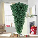 AerWo 7ft Upside Down Artificial Christmas Tree with Metal Stand, Green Artificial Pine Tree 1100 Tips Xmas Tree for…