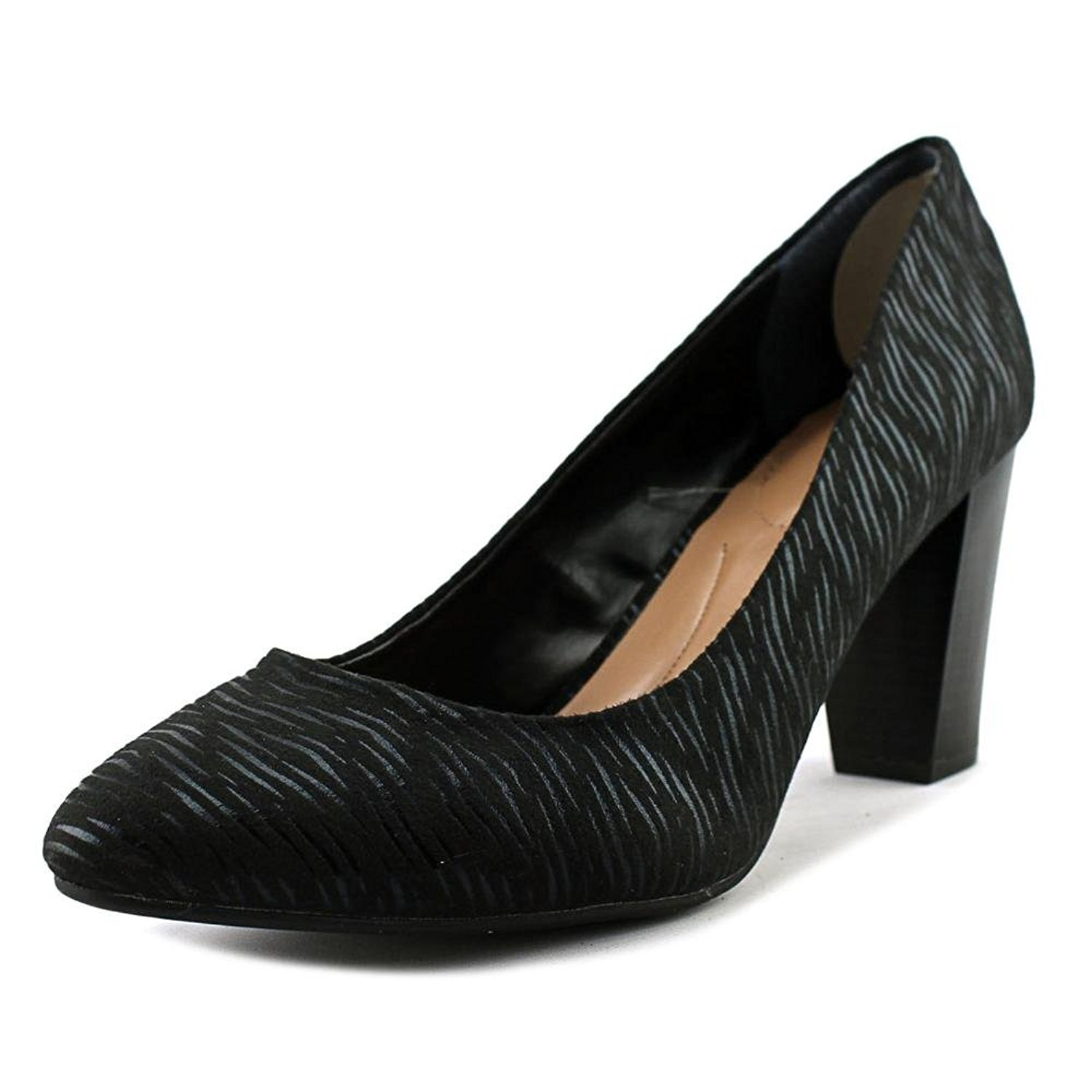 Style & Co. Asyaa Women Pointed Toe Canvas Gold Heels, Black, Size 5.5