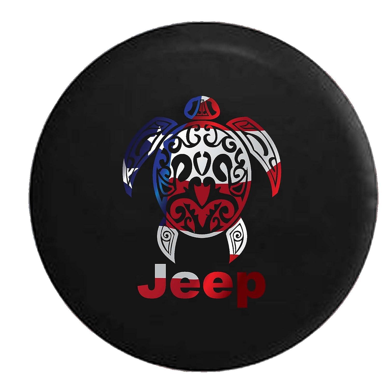 Tie-Dye - Jeep Sea Turtle Diving Beach Marine Life Spare Tire Cover Vinyl Black 33 in American Unlimited Gear