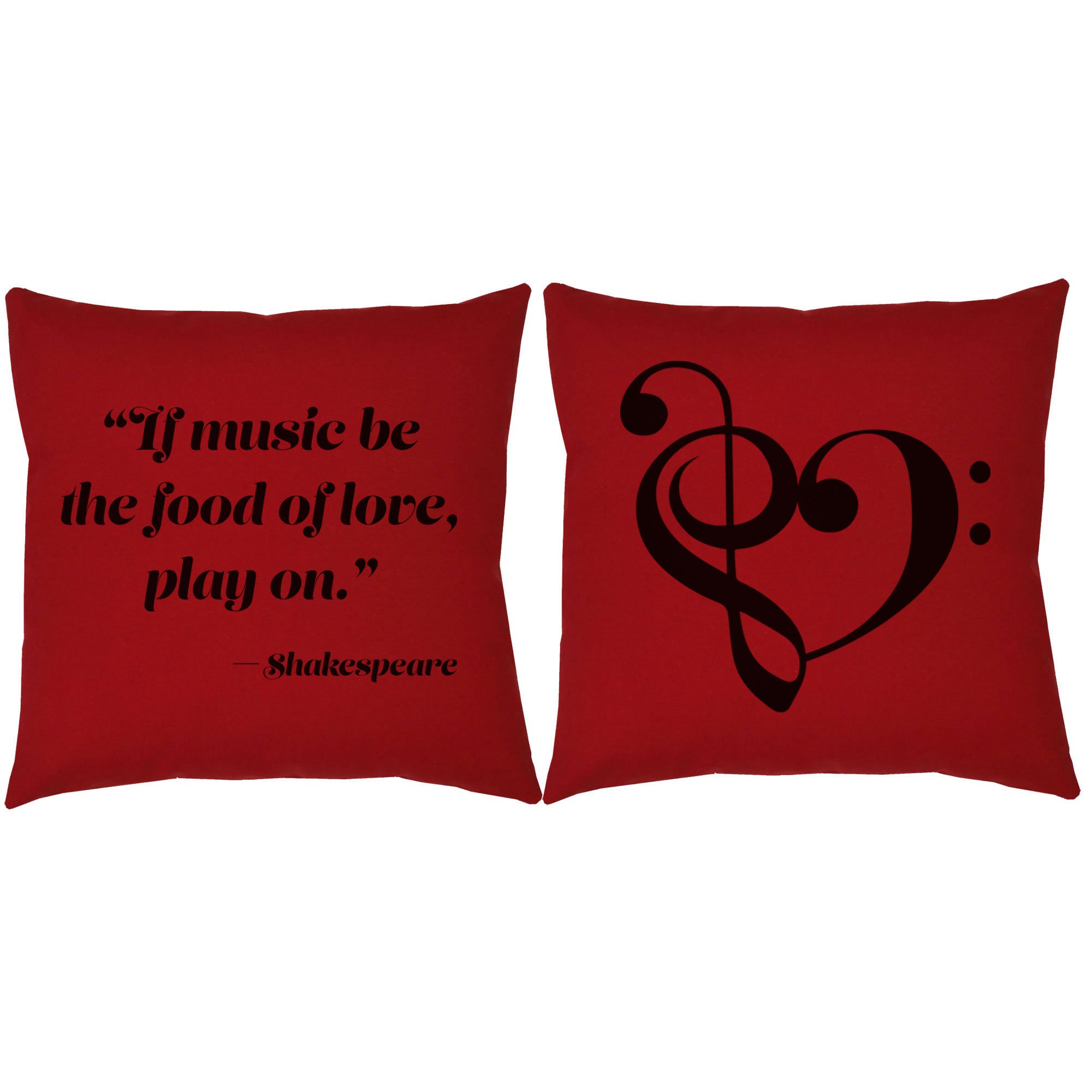 Set of 2 RoomCraft Music is the Food of Love Throw Pillows 20x20 Square Red Cotton Shakespeare Quote Cushions