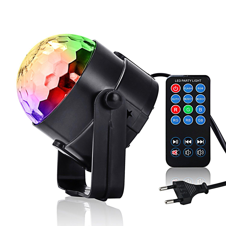 Lampe de Scène,Beautystar 7 Colors 3W LED RGB Commande Sonore Jeux de Lumière Disco Projecteur Effet Spot DJ Éclairage pour KTV, Bar, DJ Disco avec Télécommande