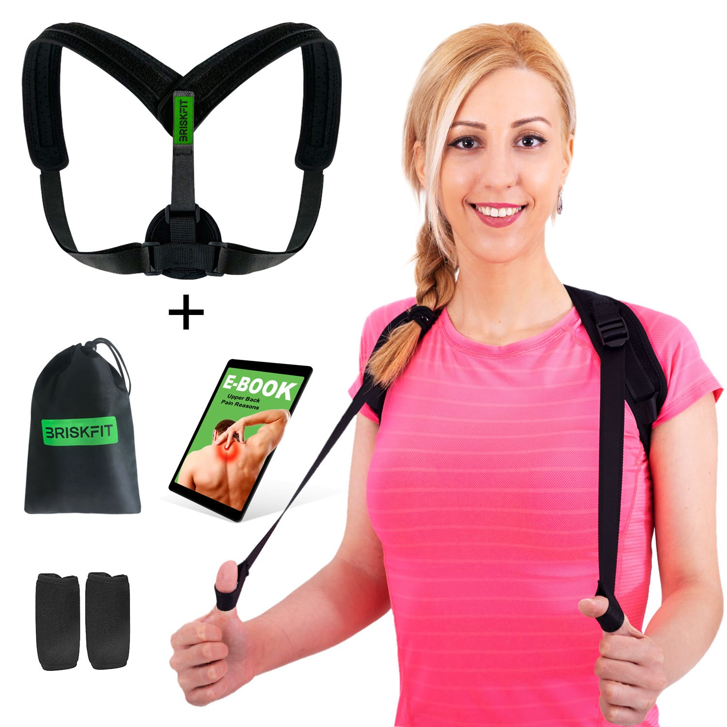 Back Posture Corrector for Women Men & Kids - Adjustable Posture Brace for Hunch Back - Clavicle Support for Upper Back Pain Relief + Carry Bag