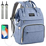 Diaper Bag Backpack, Mokaloo Large Baby Bag, Multi-functional Travel Back Pack, Waterproof Maternity Nappy Bag Changing Bags with Insulated Pockets Stroller Straps and Built-in USB Charging Port, Blue