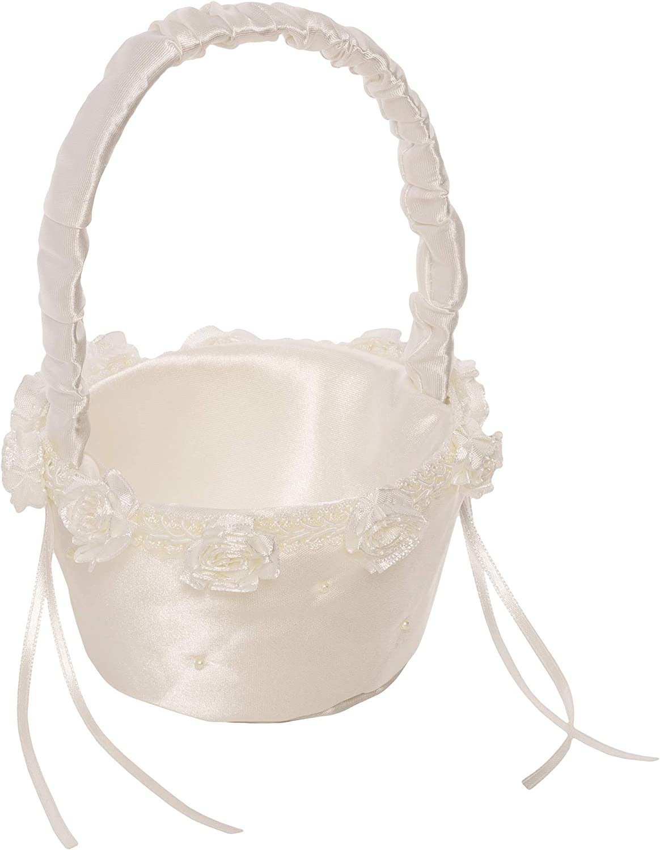Simplicity Small White Ivory Wedding Flower Girl Basket, 6.8'' W x 5.5'' L x 7.8'' H