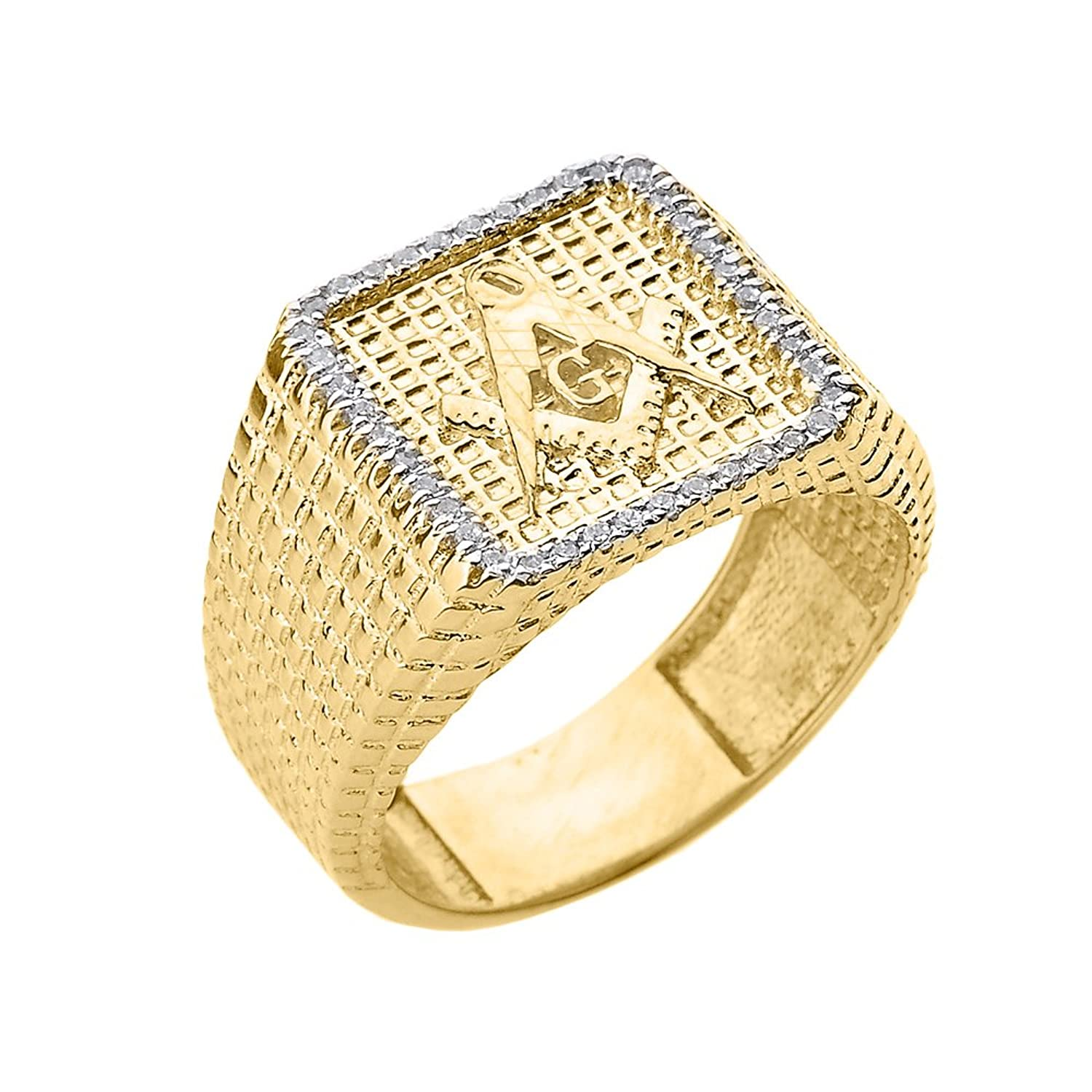 Men's Solid 14k Yellow Gold Textured Band Diamond-Studded Masonic Ring