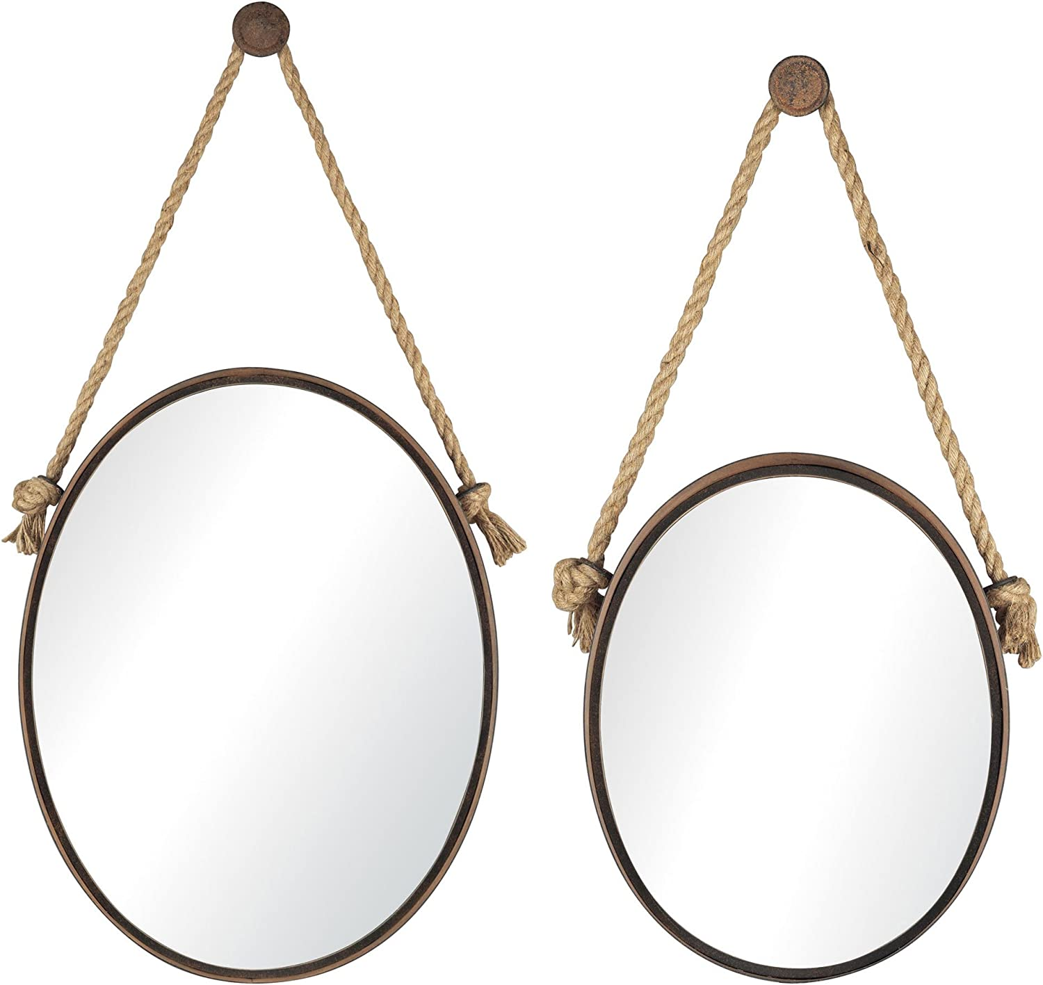 Set of 2 Rust Oval Sterling 53-8503 Iron Holder Mirrors on Rope