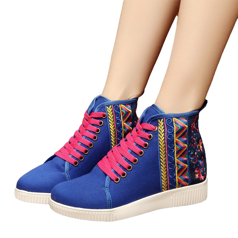AvaCostume Womens Embroidery High-top Flats Casual Lace-up Walking Shoes B01M8O3OKW 37 M EU|Blue