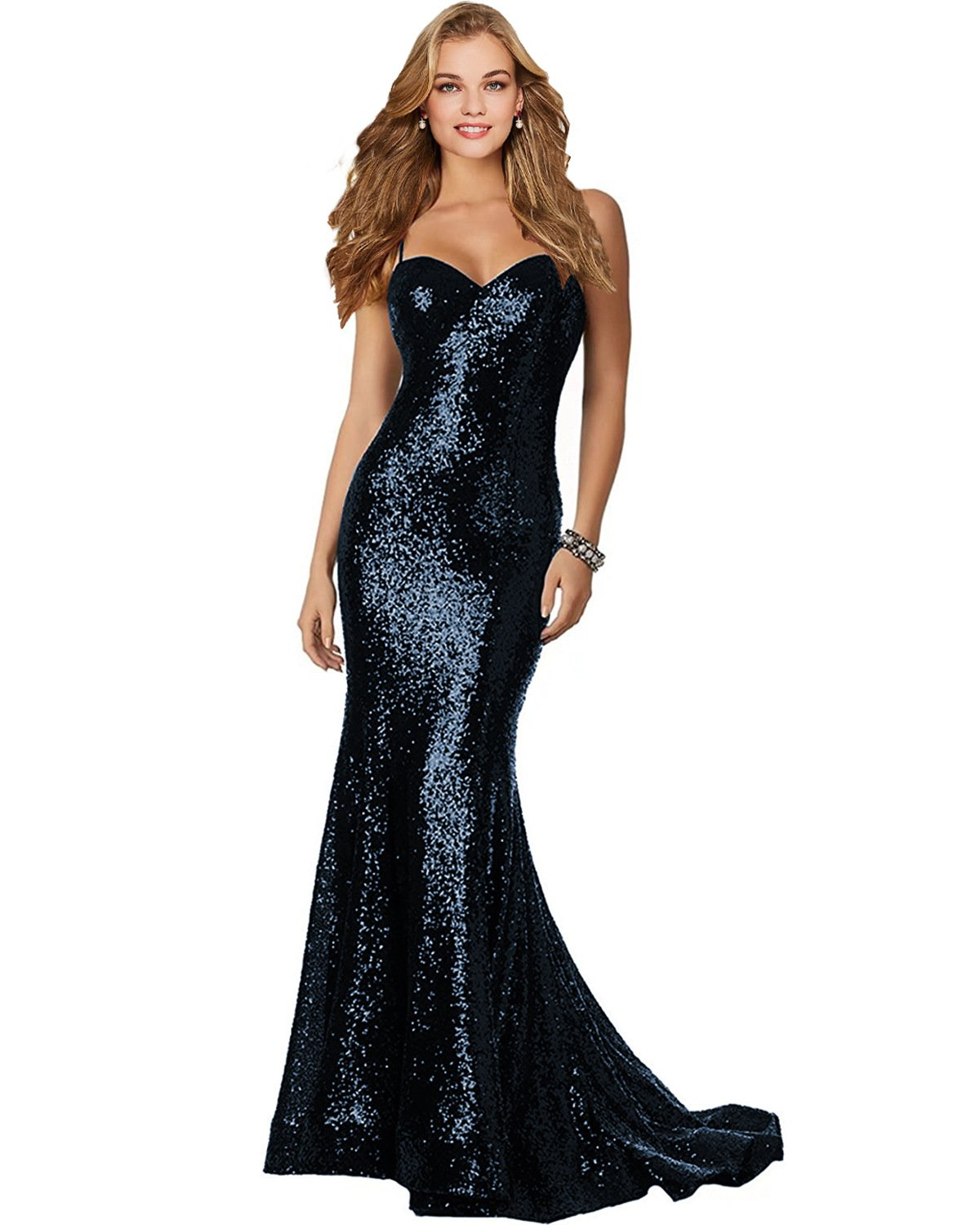 a3ca0fe5bb26 Lily Wedding Womens Sexy Sequined Mermaid Prom Dresses 2018 Long Formal  Evening Party Gowns P186 Size 14 Navy Blue .