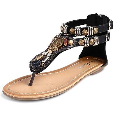 e16d7b5cd7f9 LabatoStyle Women' s Summer T-Trap Flat Sandals Boho Beaded Back Zip Flip  Flops