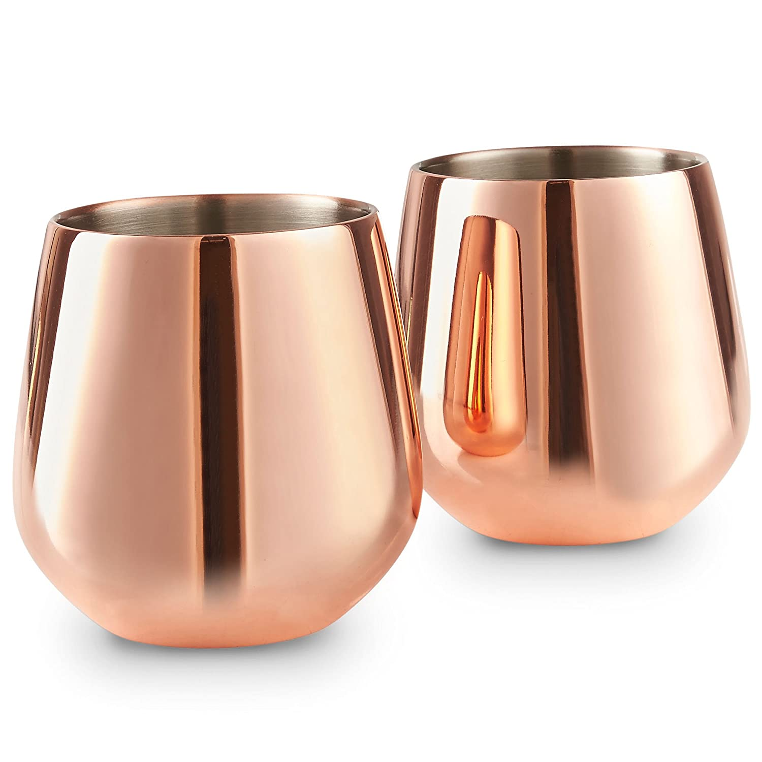 Double Walled Copper Stainless Steel Glass Set of 2