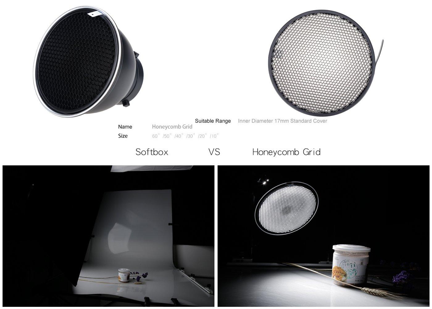 Godox Standard Reflector 7''/18cm Diffuser with 20/40/60 Degree Honeycomb Grid for Bowens Mount Studio Light Strobe Flash by Godox (Image #4)