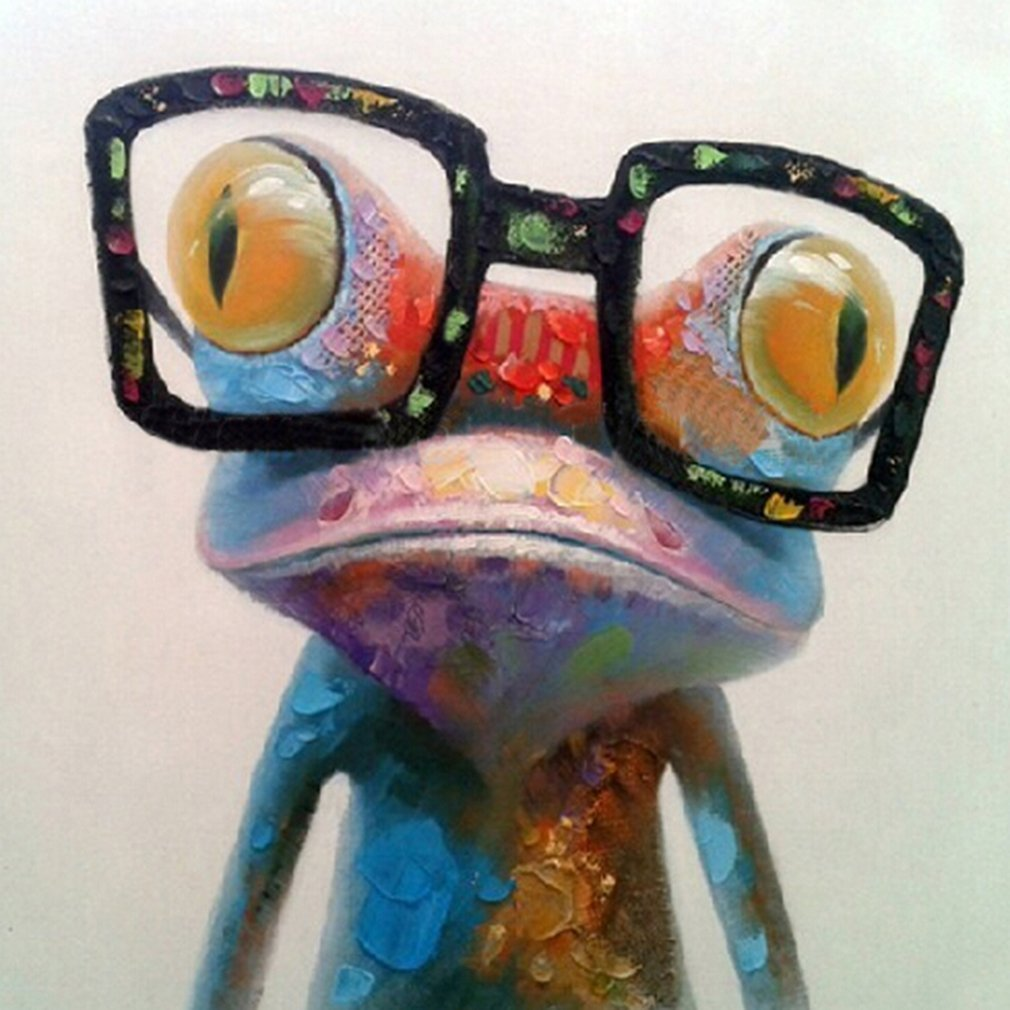 Muzagroo Art Happy Frog Oil Paintings Hand Painted Canvas Pictures Wall Decor 16x16in