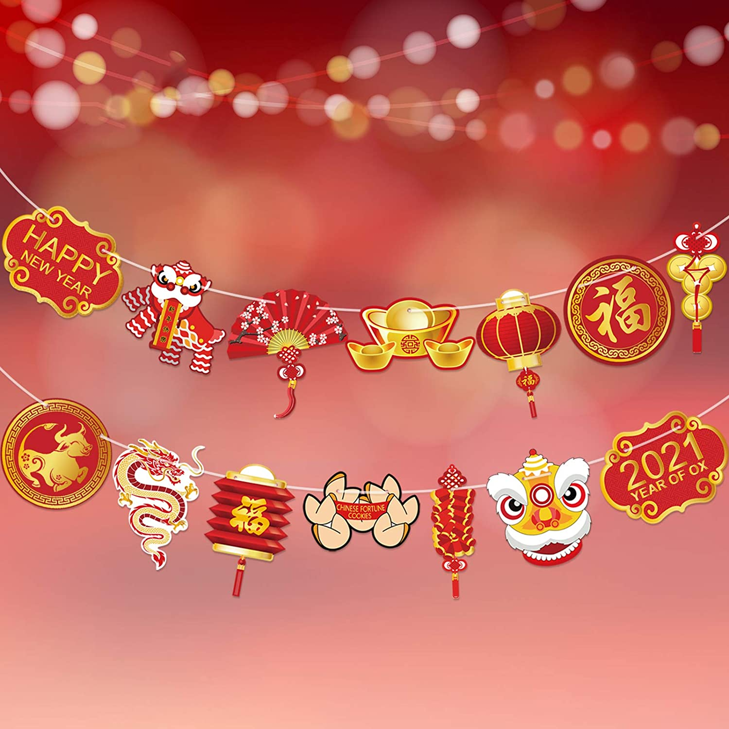 6 CHINESE RED GOOD WISHES PAPER PARTY BANNER NEW YEAR BIRTHDAY HOME DECORATION