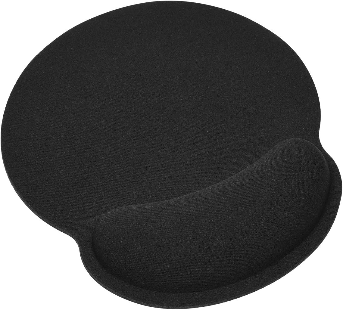 Gaming Mouse Pad with Gel Wrist Rest Support Protect Your Wrists, Memory Foam Mouse Pad with Wrist Non-Slip Rubber Base Desk Pad for Computer Laptop Mac, Gaming, Office, Travel(Black)