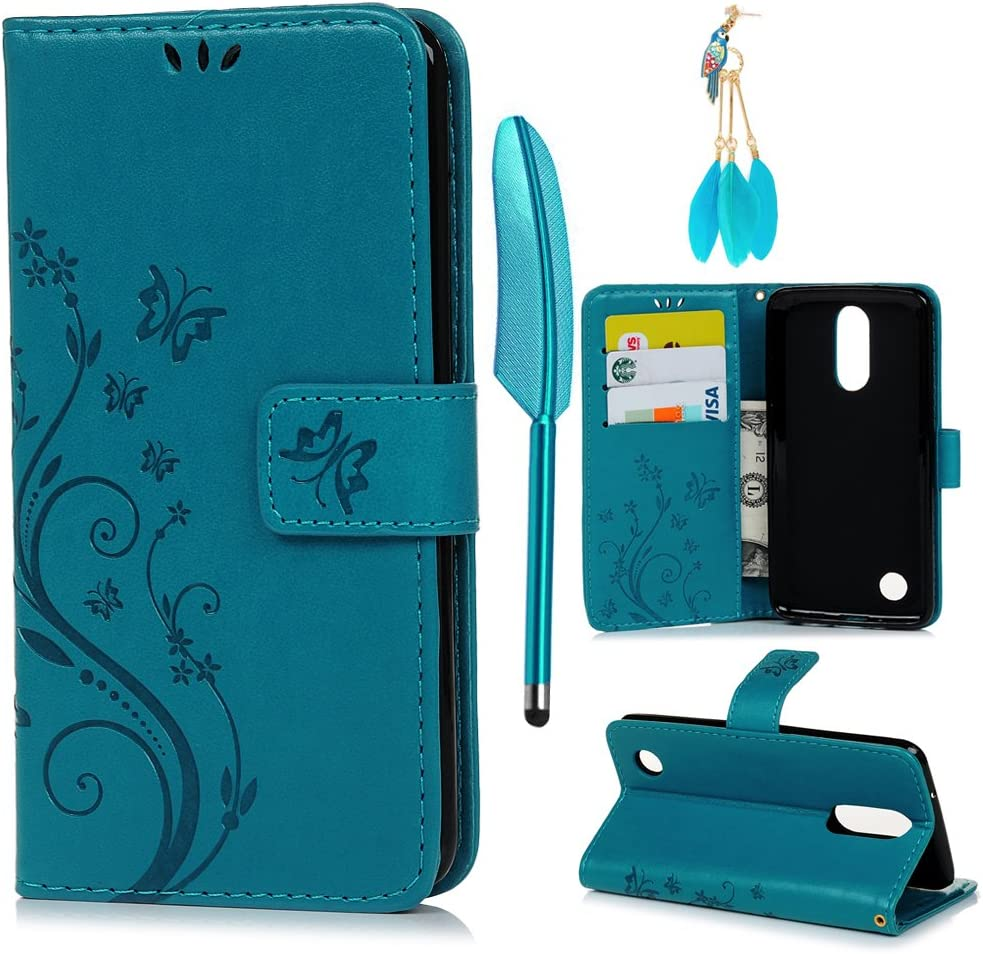 LG Aristo Case, LG Phoenix 3 Case, LG K8 Case, PU Leather Wallet Case Embossed Butterfly Kickstand Flip Case Card Slots & Wrist Strap Soft TPU Bumper Slim Fit Protective Cover for LG K8 - Blue