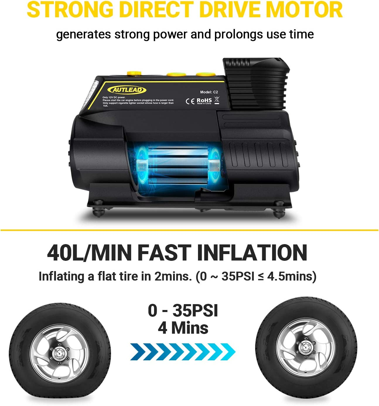 Emergency Light Bicycle Fast Inflating for Car Balloon Compact Tire Pump with Digital Gauge AUTLEAD C2 Tire Inflator Ball 12V Portable Air Compressor Quick Release Chuck