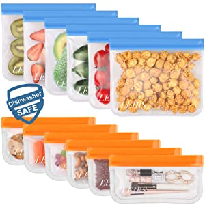 12 Pack Dishwasher Safe Reusable Food Storage Bags (6 Sandwich Lunch Bags & 6 Small Kids Snack Bags) Leakproof Silicone & BPA Free for Food Marinate Meat, Fruit Cereal, Sandwich, Snack