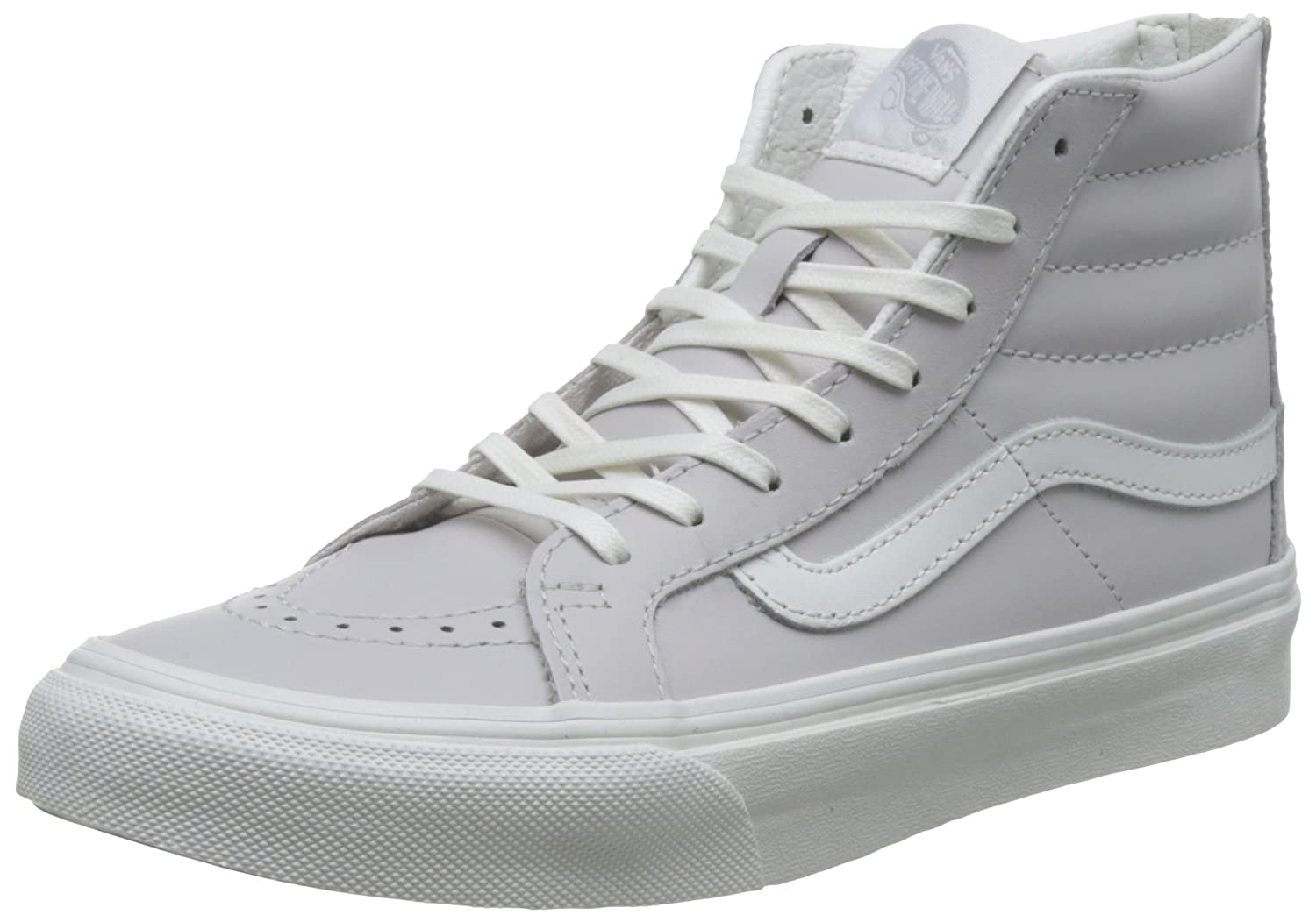 Vans UA SK8 Hi Slim Zip Sneaker, ((Leather) Wind Chime/Blan), 10.0