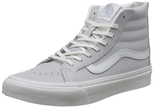 9c27a7e2fd Vans Damen Ua Sk8-hi Slim Zip Sneaker Grau (Leather Wind Chime De Blanc