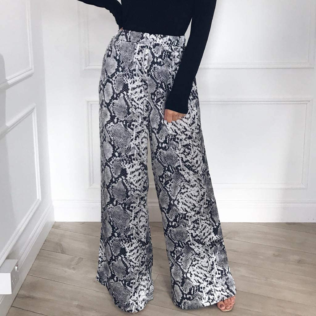 Wide Leg Pants Women Ladys High Waist Leopard Printing Long Pants Trousers