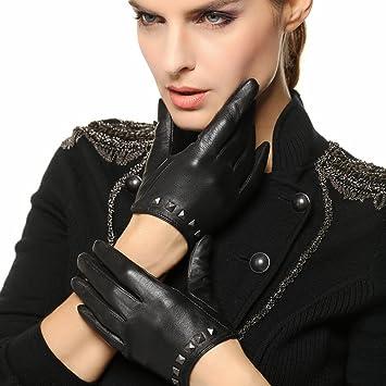 600b8abbd WARMEN Punk Rock Women Genuine Soft Leather Driving Performance Gloves With  Rivet, Sports Apparel - Amazon Canada