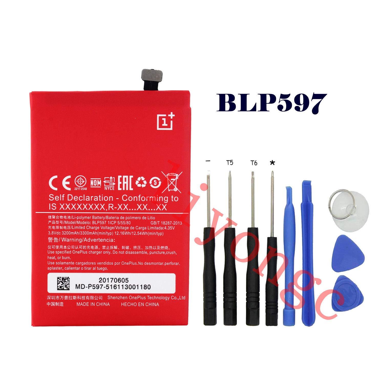 FidgetFidget Original Battery for OnePlus 3/2/1/X /3T BLP571 BLP597 BLP613 BLP633 BLP609For OnePlus 2 Two,BLP597 3300mAh
