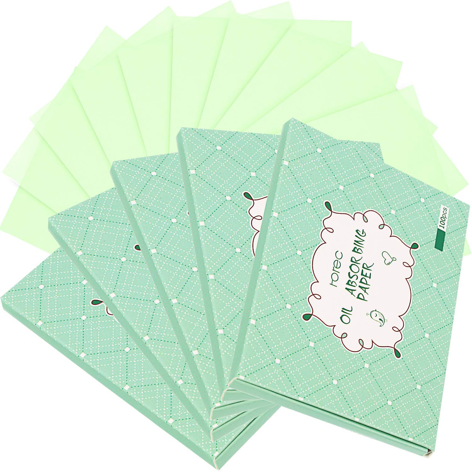 500 Counts Flax Oil Blotting Paper Sheets Oil Absorbing Tissues Sheets for Both Men Women, Prevent Blackhead, No Synthetic Fragrances (Green)