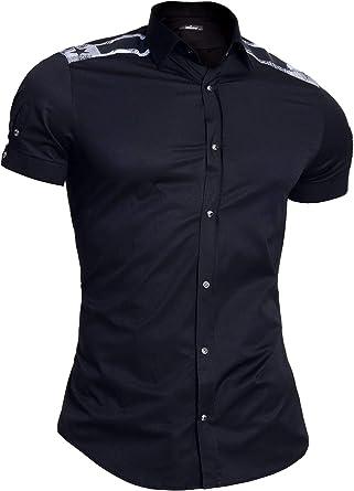 Mondo Camisa de Manga Corta para Hombre Algodón Epaulettes ...