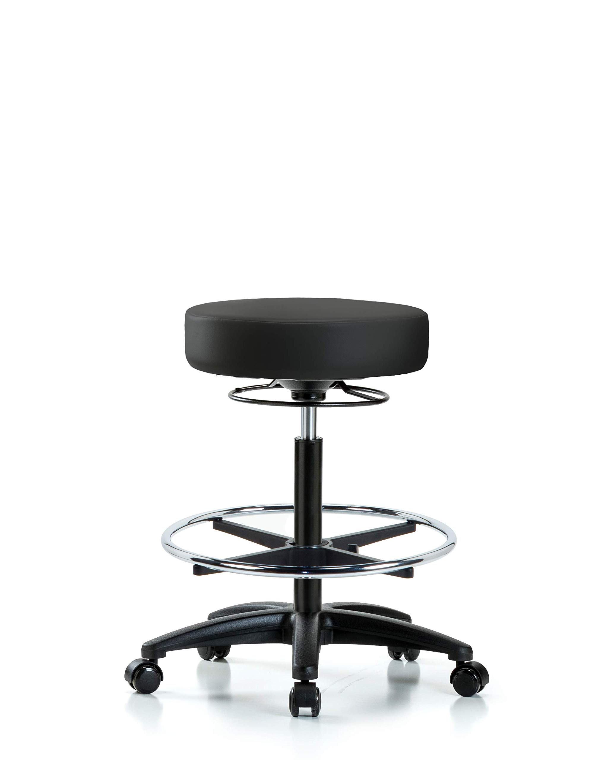LabTech Seating LT45141 High Bench Stool, Vinyl, Nylon Base, Chrome Foot Ring, Casters, Black