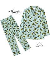 Pineapple Pattern Light Green Pajamas Set For Women Turn-down Collar Full Length Lady Pyjamas