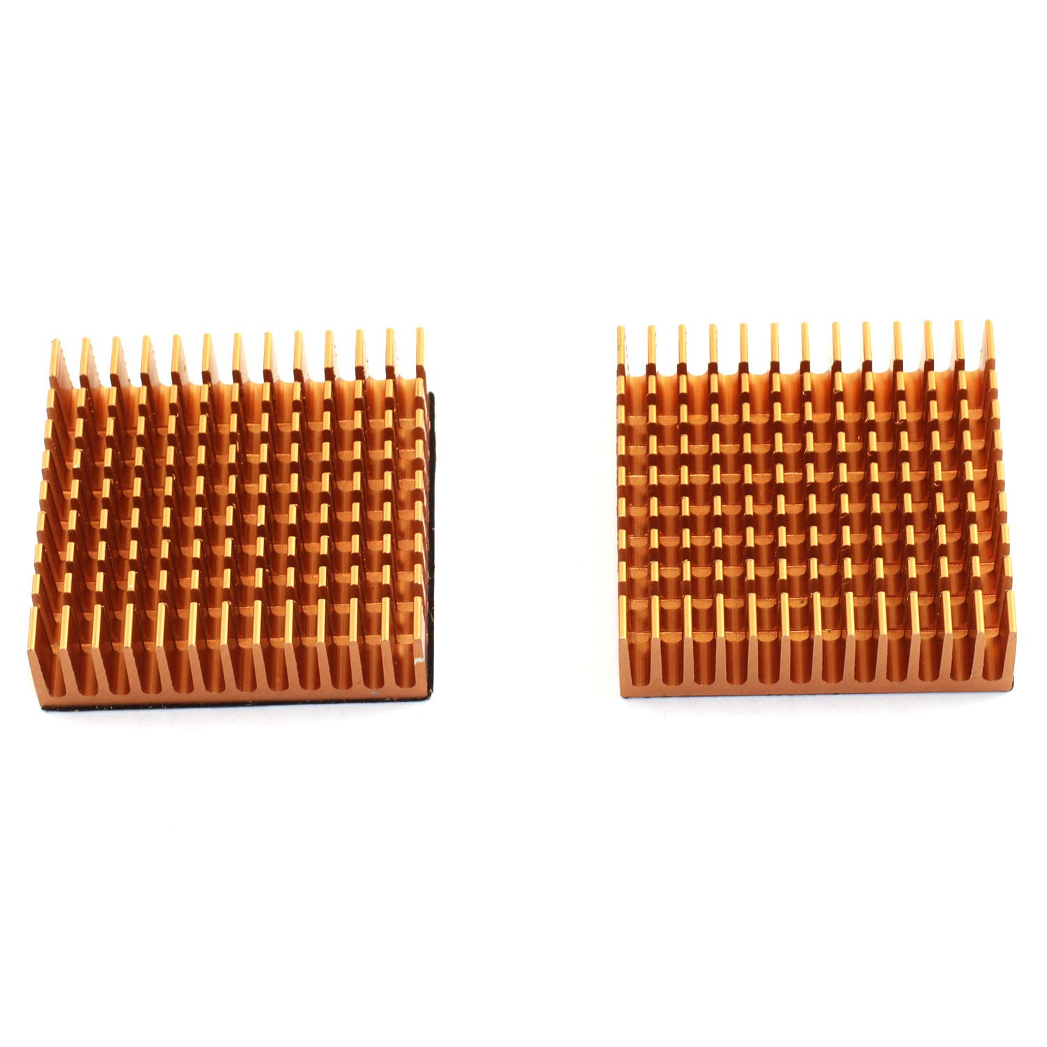 DGZZI 2PCS Golden Aluminum Heatsink 40x40x11mm Square CPU Heat Sinks Cooling Cooler Fin with 2PCS 3M Silicone Based Thermal Pad