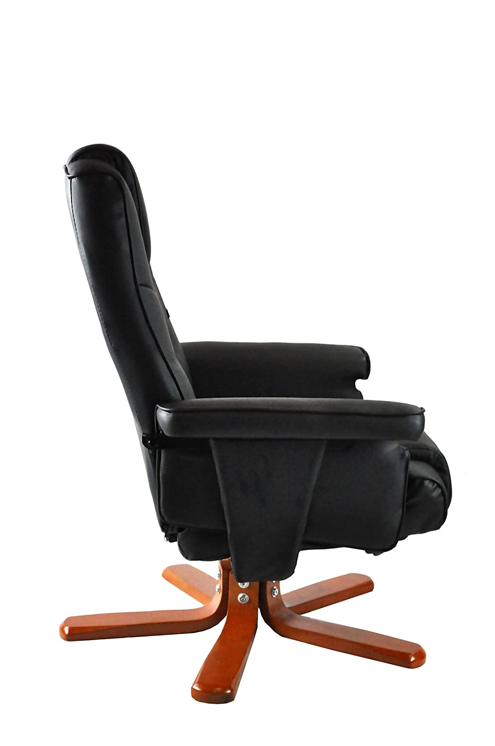 Armchair Recliner With Footstool Executive PU Leather Luxury Faux High Back Reading Chair For Home Study Office Desk By Harvey Williams - Black ...  sc 1 st  Amazon UK & Armchair Recliner With Footstool Executive PU Leather Luxury Faux ... islam-shia.org