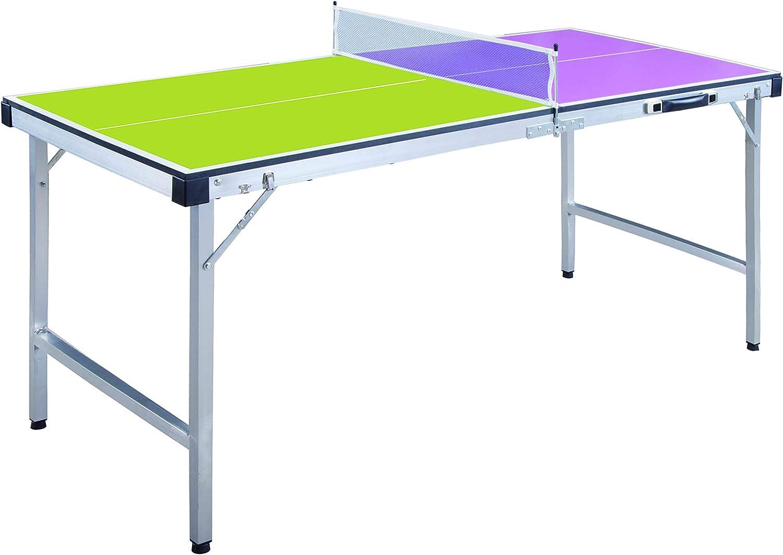 ODG - Mesa Ping Pong Plegable con Red y Raquetas de Madera y Metal