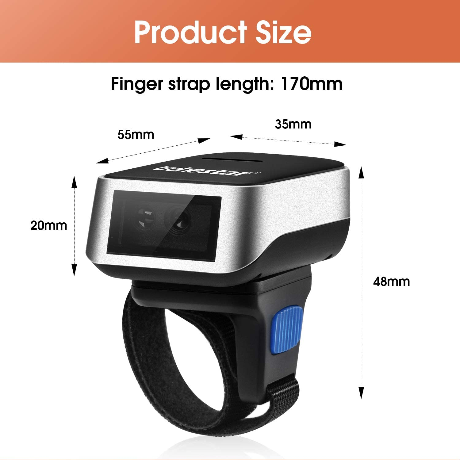 Trohestar Bluetooth Barcode Scanner,Wearable Mini CCD Wireless Ring Barcode Scanner Portable 1D Bar Code Reader Inventory Scanner Work with Windows iOS Android Linux Mac OS