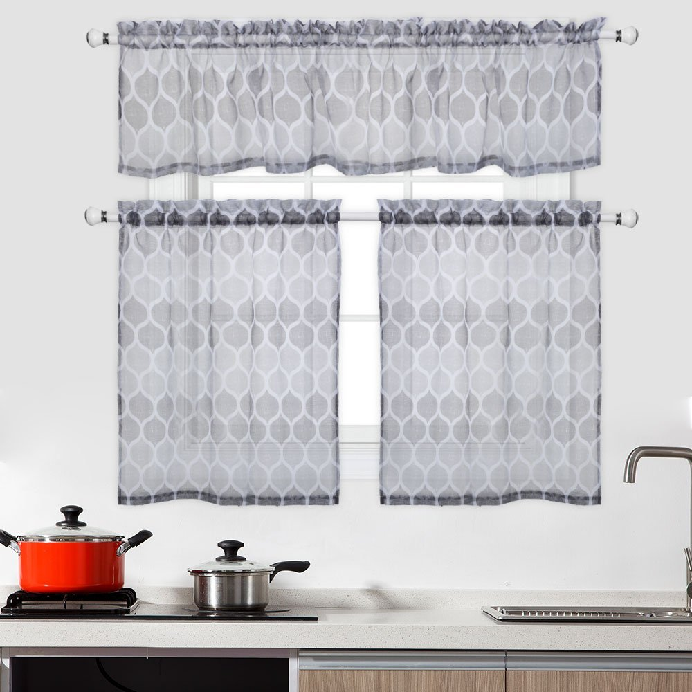 CAROMIO 3 Pieces Cafe Curtains Kitchen Tier Curtains and Valance Set Bathroom Curtains and Valance Set Sheer Moroccan Tile Print Seafoam Green and White Curtains(29x24 Set of 2, 58x15)