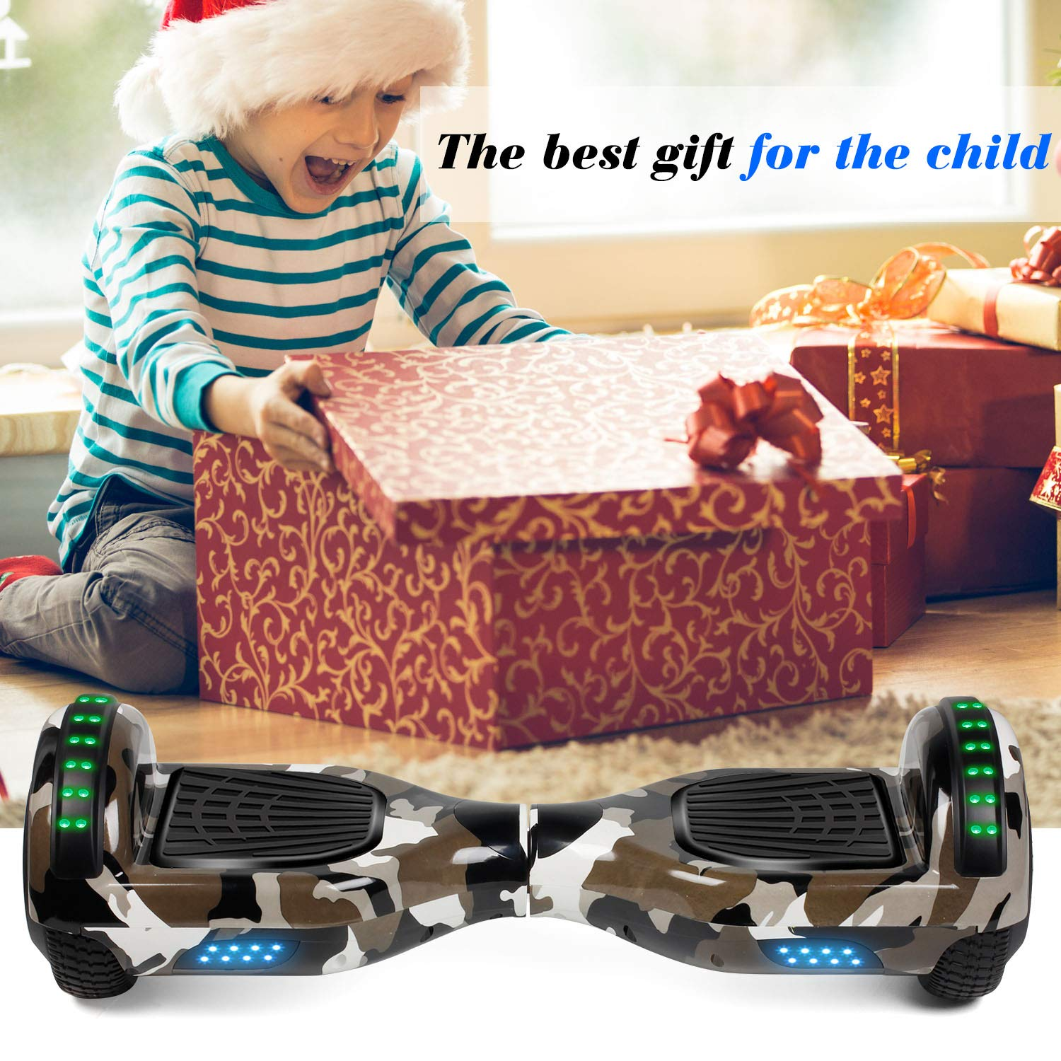 Hoverboard Self Balancing Scooter 6.5'' Two-Wheel Self Balancing Hoverboard with Bluetooth Speaker and LED Lights Electric Scooter for Adult Kids Gift UL 2272 Certified Fun Edition - Desert Camo by SISIGAD (Image #6)