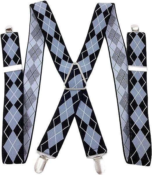 Mens Y-Back Adjustable Argyle Suspenders 1.4 In Width Heavy Duty Braces /&4 Clips
