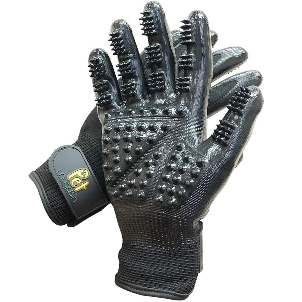 Pet Magasin Grooming Gloves One Size Fit All Works for Dogs, Horses, Cats and Other Animals