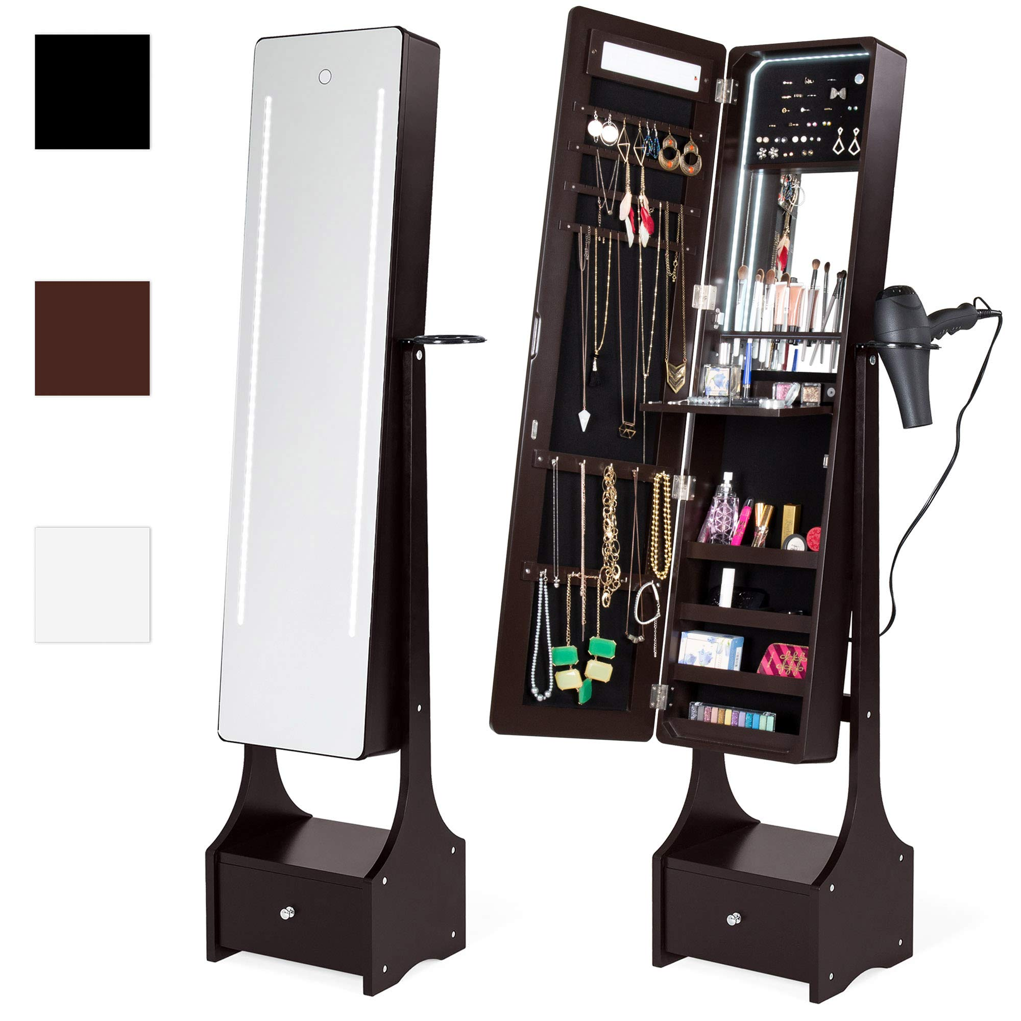 Best Choice Products Full Length LED Mirrored Jewelry Storage Organizer Cabinet w/Interior & Exterior Lights - Brown by Best Choice Products