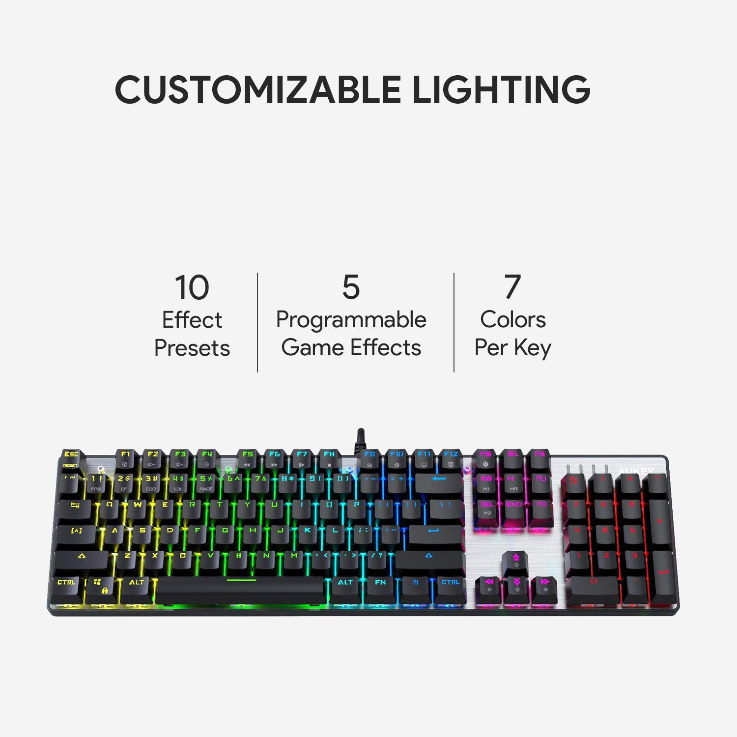 Aukey Mechanical Keyboard Blue Switch 104 Key Rgb Pc Printed Circuit Board Customized Pcb Boards Buy Tablet Gaming With Customizable Lighting Effects Aluminium Usb Wired For And Typing Mac Compatible Computers Accessories